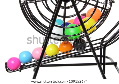 Close Up of Bingo Game Cage - stock photo