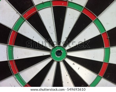 Close up of black and white dartboard for darts game.