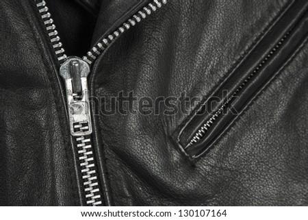 close-up of black leather jacket details - stock photo