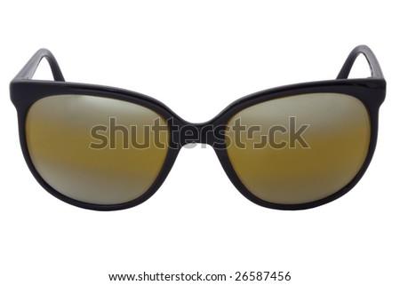Close-up of black polarized sport sunglasses, isolated on white background. - stock photo