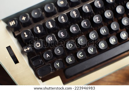 Close up of black typewriter keys