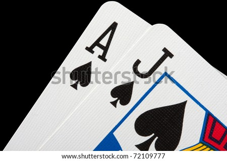 Close-up of blackjack cards isolated on black - stock photo