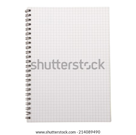 Close up of blank notebook, notepad isolated on white