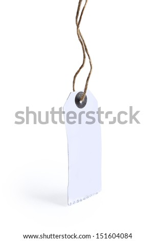 close up of blank price label on white background with