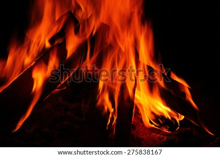 Close up of blazing fire. with black background