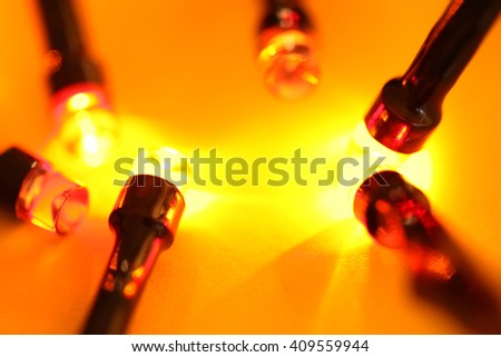 Close up of blinking LED bulbs