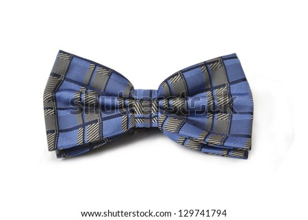 Close-up of blue bow-tie - stock photo