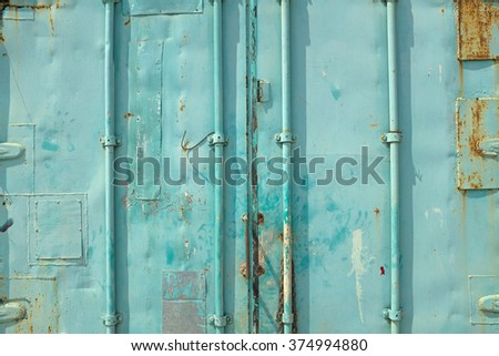 Close up of blue cargo ship container user of background and texture - stock photo
