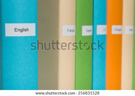 Close-up Of Blue English Language Book  - stock photo
