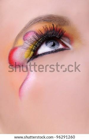close-up of blue eye;professional make-up - stock photo