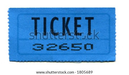 Close-Up of Blue General Admission Ticket Isolated on a White Background.