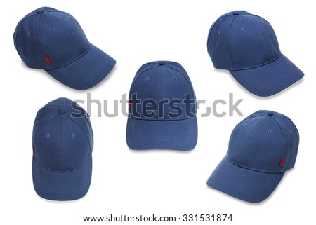 Close up of blue hat isolated on white background - stock photo