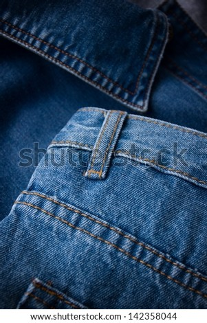Close-up of blue jeans. - stock photo