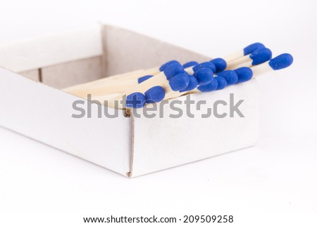 Close up of blue matches in box isolated on white background - stock photo