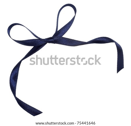 close up of blue ribbon on white background  with clipping path - stock photo