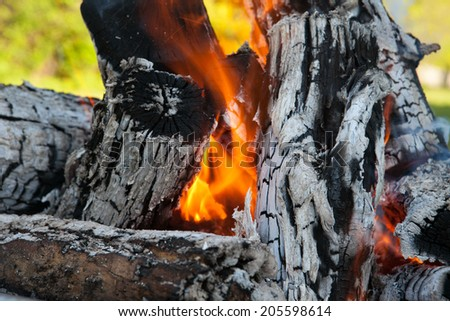 Close up of bonfire, sunny afternoon day in background. - stock photo