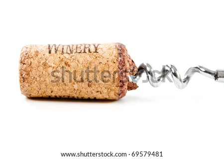 close up of bottle opener and cork of wine bottle on white - stock photo
