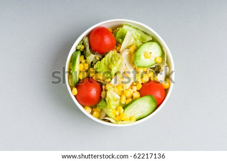 Close up of bowl with vegetable salad