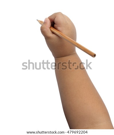 Close up of boy hand writing with pencil isolated on white background, clipping path.