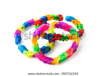 Close up of bracelets made with rubber bands