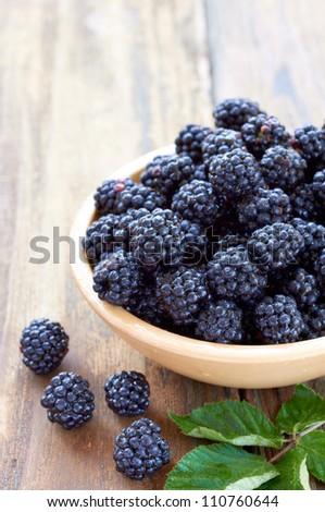 close up of bramble fruit - stock photo