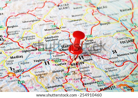 Close up of Brasov  ,Romania  map with red pin - Travel concept - stock photo