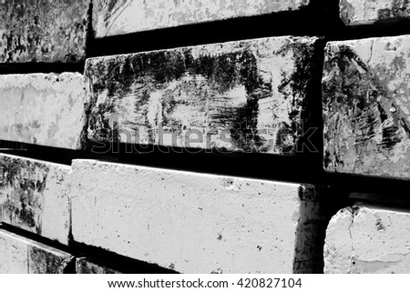 Close-up of brick wall texture in black and white - stock photo