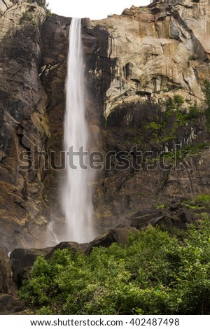 Close up of Bridalveil Fall at Yosemite National Park.