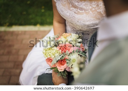 Close up of bride and bridesmaids bouquet