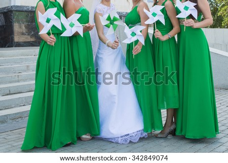 Close up of bride and bridesmaids bouquets - stock photo