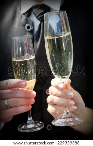 Close Up of Bride and Groom's Hands Toasting with Champagne Glasses and Celebrating Marriage - stock photo