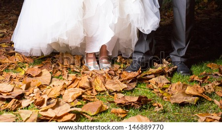 Close-up Of Bride And Groom's Leg In Park Surrounded With Dry Leaf - stock photo