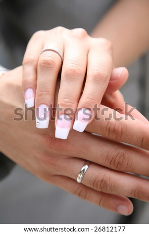 Close-up of bride?s hand on that of her husband after exchange of wedding rings