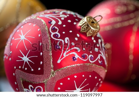 Close-up of bright Christmas balls, horizontal shot