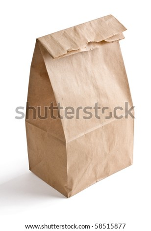 Close up of brown lunch bag isolated on white background. - stock photo