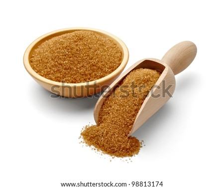 close up of  brown sugar on white background with clipping path - stock photo