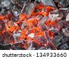 Close-up of burning charcoal - stock photo