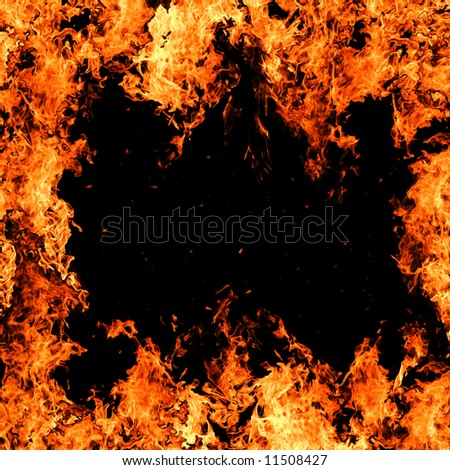 close up of burning fire over black