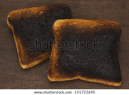 Close-up of burnt toasts - stock photo