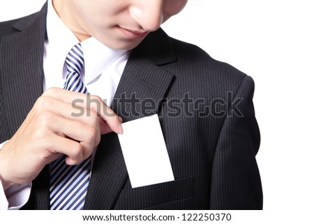 Close up of business card in business man suit pocket (great for copy space) - horizontal , asian male model