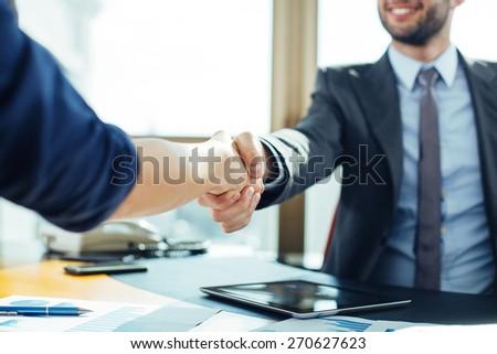 Handshake Between Office Workers Stock Image - Image: 15614321