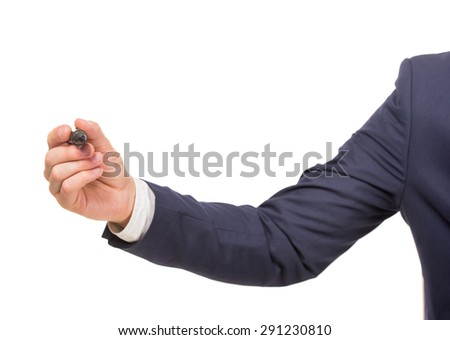 Close-up of business man holding marker. White background. - stock photo
