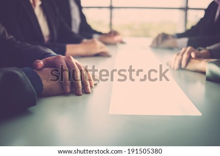 Close-up of business meeting - stock photo
