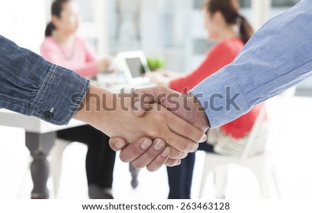 Close-up of business people shaking hands to confirm their partnership - stock photo