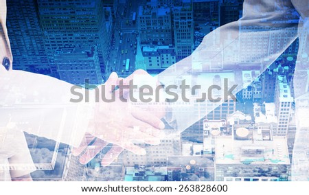 Close up of business people shaking their hands against new york - stock photo