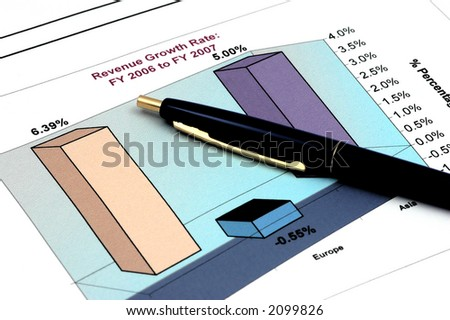 Close up of Business Report with Pen