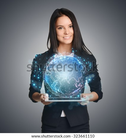 Close up of business woman holding digital globe keep in hand.