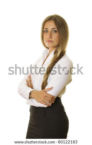 Close-up of business woman in a white shirt and black skirt on white arms crossed. Isolated on a white background - stock photo