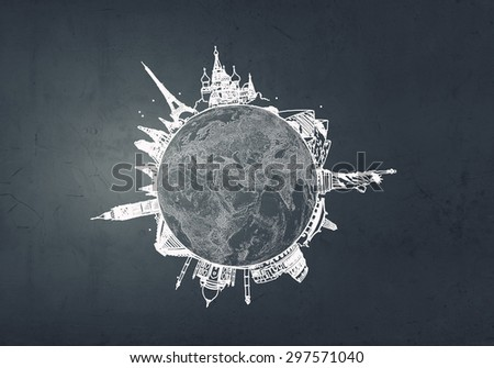 Close up of businessman hand with Earth planet in palm - stock photo