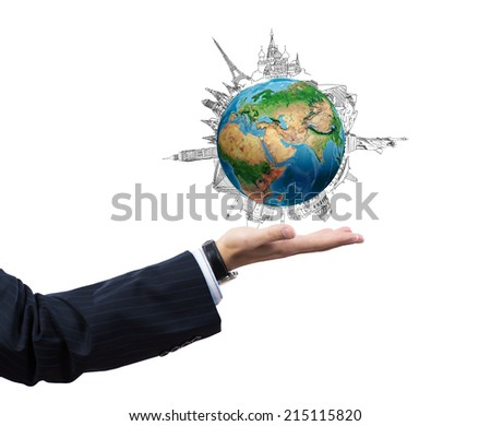 Close up of businessman hand with Earth planet in palm. Travel concept. Elements of this image are furnished by NASA